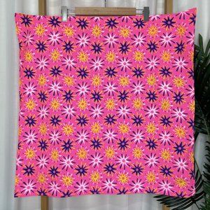 LUSH Pink Yellow Snow Fairy Print Knot Wrap Scarf Organic Cotton